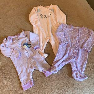 Newborn girl pajamas set of 3